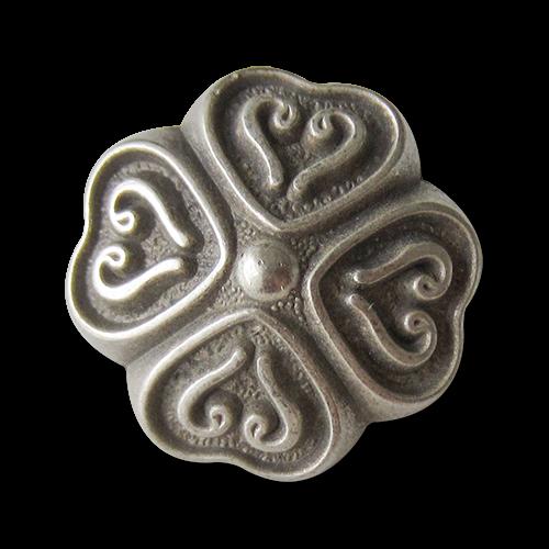 www.Knopfparadies.de - 5245si - Bezaubernde silberne Trachtenknöpfe mit Herzen in Klee Form