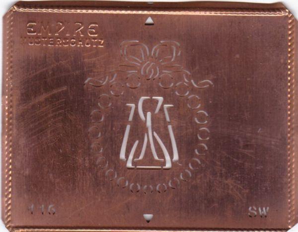 Stilvolle Jugendstil Kupfer Schablone mit Kranz und Schleife - Rarität - SW