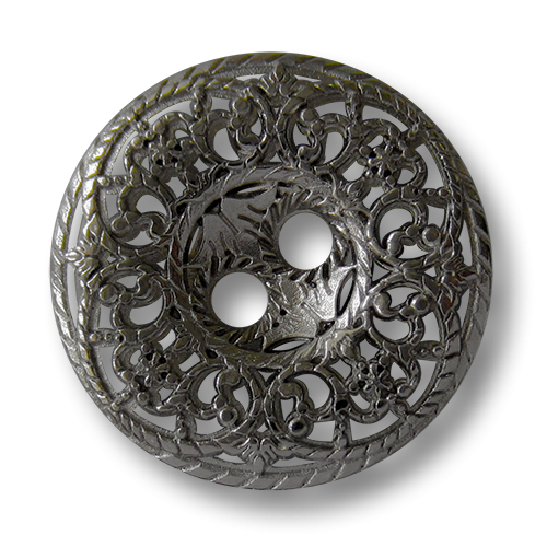 www.knopfparadies.de - 5746ch - chromfarbene Metallknöpfe mit filigranem Durchbruchmuster