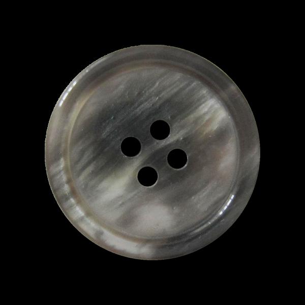 Grauer Vierloch Knopf aus Kunststoff in Perlmutt Optik