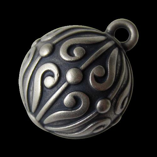 www.Knopfparadies.de - 1530as - Edle silberne Kugelknöpfe mit Ornament Muster