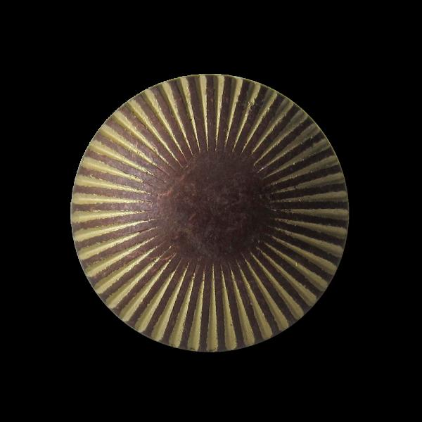 Gewölbter Metall Ösen Knopf mit Strahlenkranz am Rand