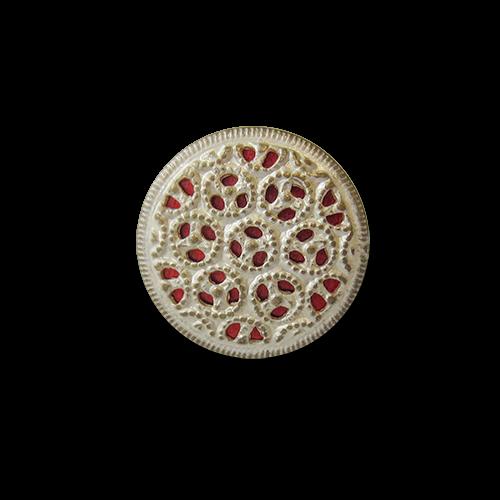 www.knopfparadies.de - 5559ro - Metallblechknöpfe mit rotem Inlay