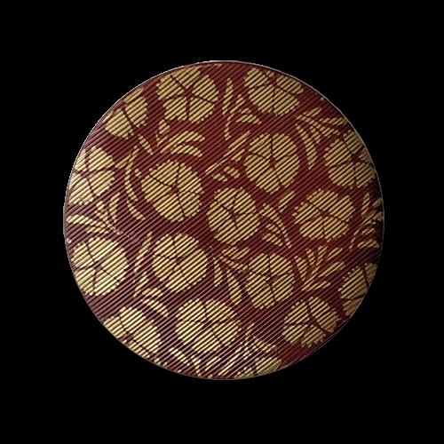 www.knopfparadies.de - 2814br - Braun-goldfarbene Kunststoffknöpfe mit Blütenmuster