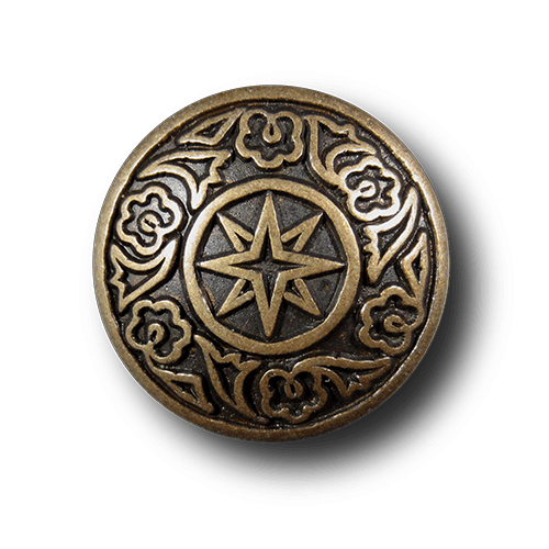Metallknopf mit Stern u. Blüten