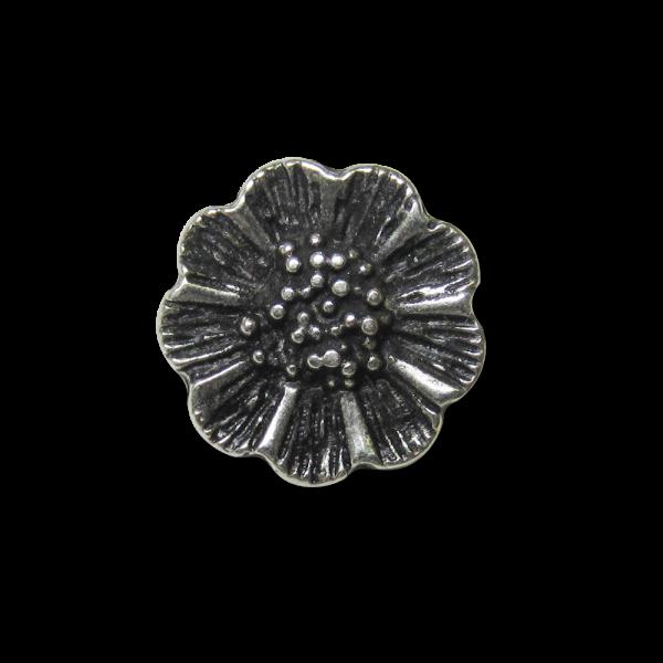 www.knopfparadies.de - 4338as - Hübsche kleine Metallknöpfe mit plastischem Blütenmotiv