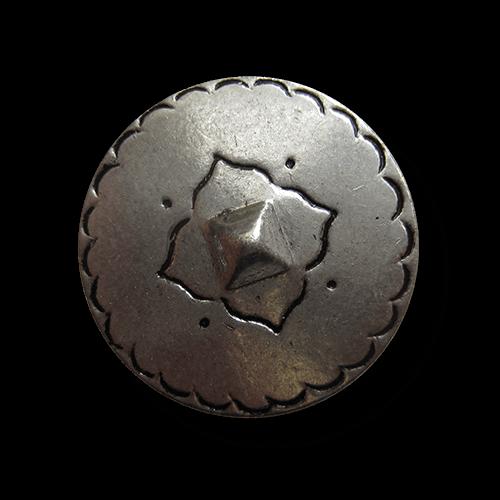Großer altsilberfarb. Mittelalter Metall Knopf