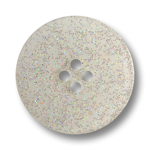 www.Knopfparadies.de - 1664gl - Dekorative weiß silberne Glitzerknöpfe aus Kunststoff