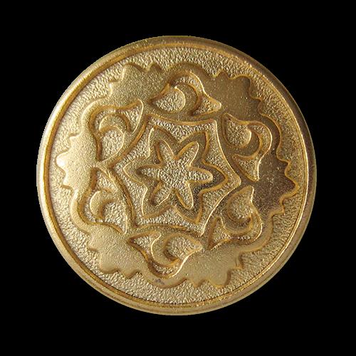 www.Knopfparadies.de - 0574go - Edle goldene Metallknöpfe mit Blumen Motiv