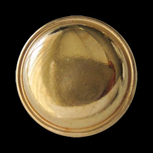 www.Knopfparadies.de - 1586go - Schlichte flach gewölbte goldfarbene Ösen Metallknöpfe