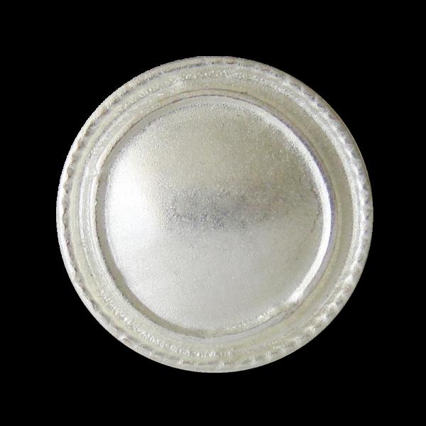 Silberfarb. Metall Knopf in unrunder Form mit Öse wie handgemacht