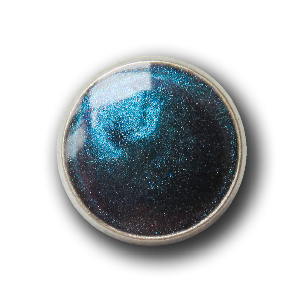 Kleiner altsilberfb. blau changierender Metall Knopf