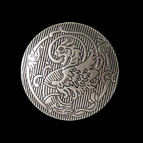 Bildschöne matt silberfarbene Motiv-Knöpfe aus Kunststoff mit Fabelmotiv Drachen