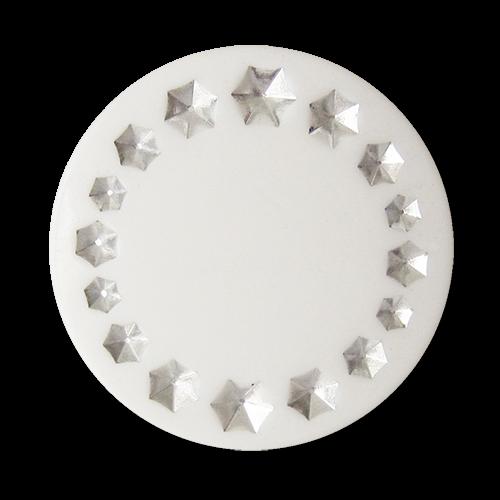 www.Knopfparadies.de - 5896wg - Weiße Ösen Kunststoffknöpfe mit silbernen Sternen