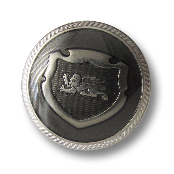 Silber-grünlicher Blazer Knopf mit Wappen und Löwe