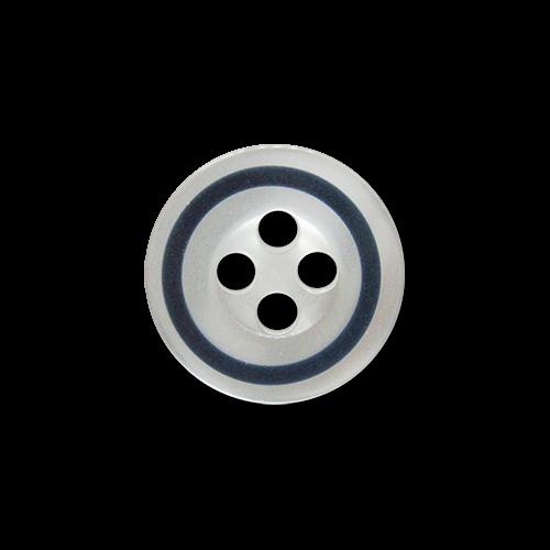 www.knopfparadies.de - 5931db - Weiß schimmernde Blusenknöpfe mit vier Löchern und dunkelblauem Rand