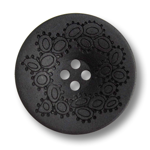 www.Knopfparadies.de - 5907sc - Schüsselförmige Kunststoffknöpfe in Schwarz und Ethno Muster