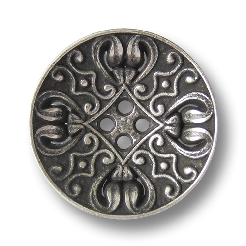 www.knopfparadies.de - 3834as - Nostalgisch gemusterte Vierloch Metallknöpfe in Altsilber
