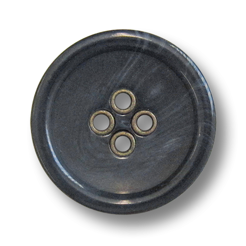 www.knopfparadies.de - 5981bl - Kunststoffknöpfe mit messingfarbenen Knopflöchern