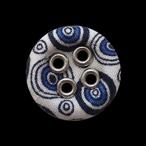 www.Knopfparadies.de - 5949sw - Nostalgische weiße Stoffknöpfe mit blauem Kreis Muster