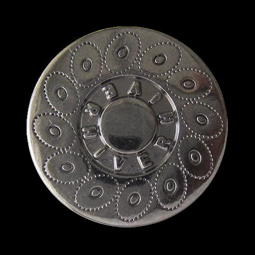 www.Knopfparadies.de - 0560ti - Chromfarbene Metallknöpfe mit Kreismuster und Schriftzug
