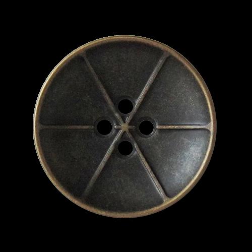 www.knopfparadies.de - 3737mg - Altmessingfarbene Metallknöpfe wie kleine Satellitenschüsseln