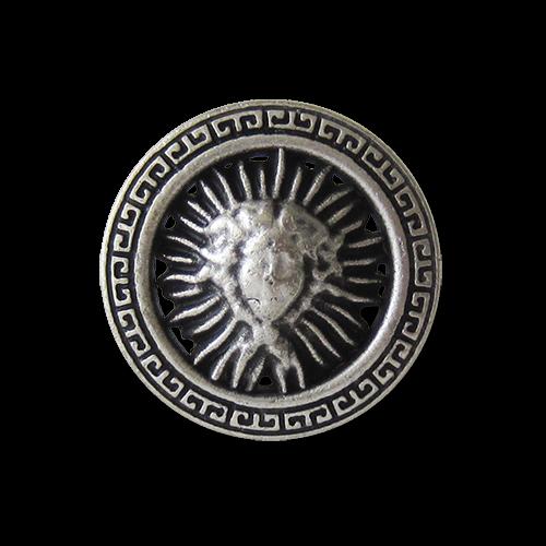 www.Knopfparadies.de - y080as - Extravagante Metallknöpfe mit Medusa Motiv und Mäander Muster