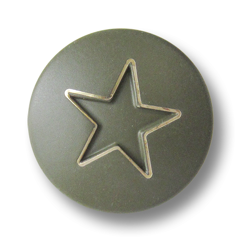 www.Knopfparadies.de - 3270gg - Moderne Motivknöpfe aus Metall mit Stern in Grün & Gold