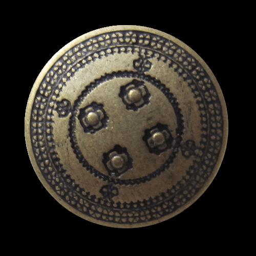 Historisch wirkender Metall Knopf wie Kämpfer Schild