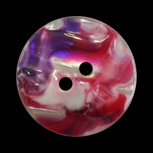 www.Knopfparadies.de - 1565rs - Kreative rosa lila weiß melierte Kunststoffknöpfe in Perlmutt Optik