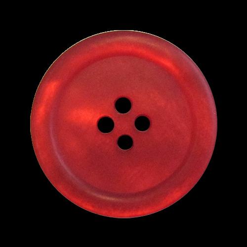 www.knopfparadies.de - 3485ro - Rot schimmernde Kunststoffknöpfe mit vier Löchern