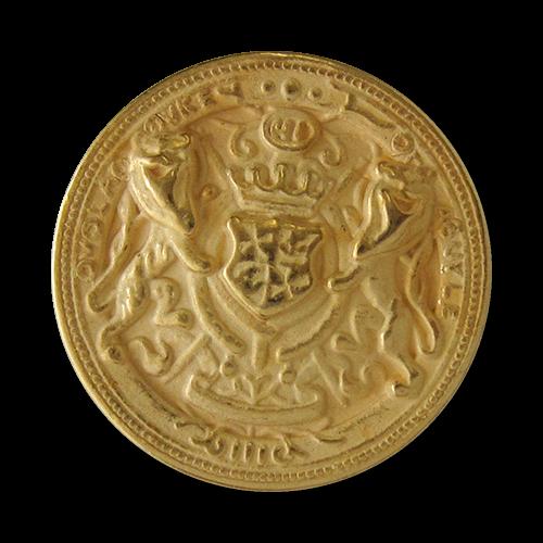 www.Knopfparadies.de - 1606mg - Goldene Metallknöpfe mit Wappen, Krone & Löwen