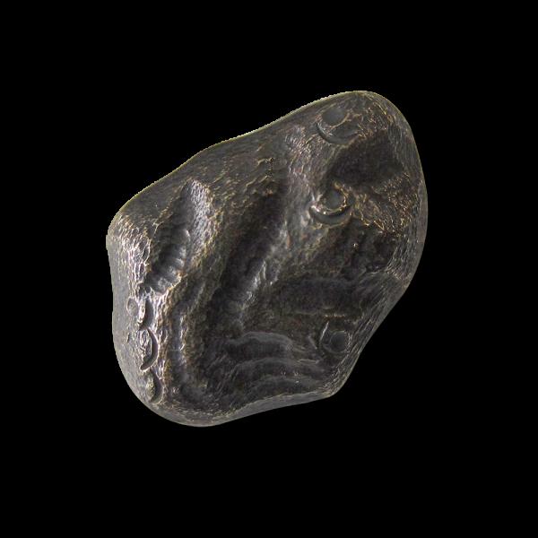 Steinförmiger Knopf aus Kunststoff in Altmessingfarben