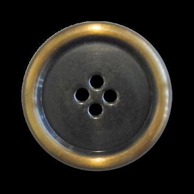 5 leichte hell messingfarbene Metallblechknöpfe mit vier Knopflöchern 5960hm