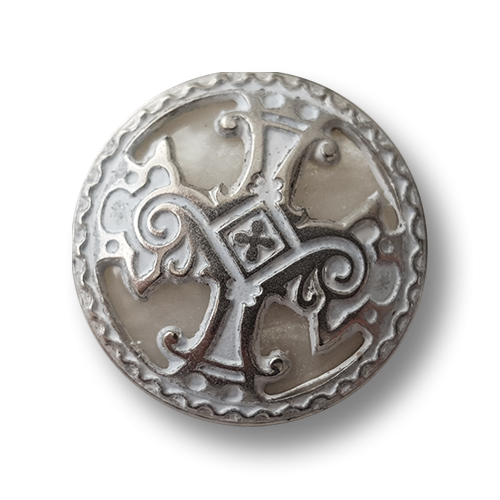www.knopfparadies.de - 5918ws - Üppige Metallknöpfe mit Kunststoff-Inlay