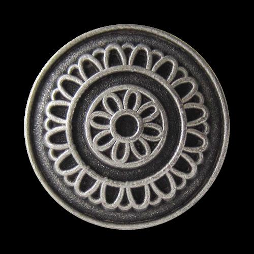 www.Knopfparadies.de - 0673as - Altsilberne Metallknöpfe mit Blumen Motiv