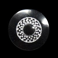Schwarz-silberfb. Knöpfe in Glas-Optik