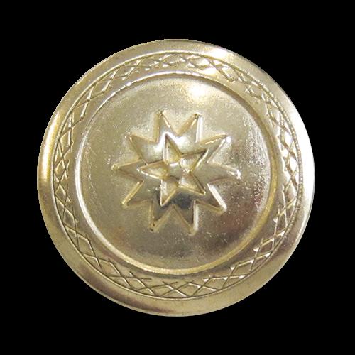 www.knopfparadies.de - 3926hg - Blass goldfarbene Metallknöpfe mit Motiv: Stern