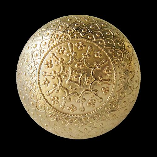 www.knopfparadies.de - 1546gg - Nostalgische glänzend goldene halbkugelförmige Metallknöpfe mit filigranen Ornament Muster