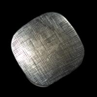 Quadratischer Metallknopf mit abgerundeten Ecken