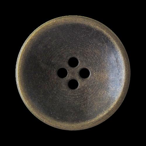 www.Knopfparadies.de - 1580am - Altmessingfarbene Vierloch Metallknöpfe in Schüssel Form