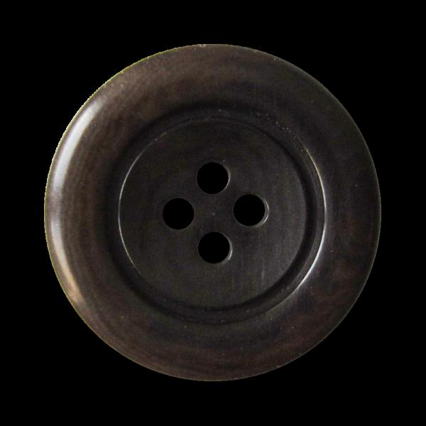 Edler dunkelbrauner Vierloch Knopf aus Steinnuss