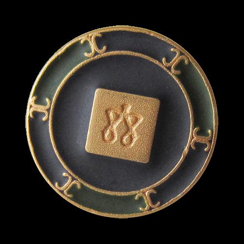 www.Knopfparadies.de - 4022db - Imposante goldene Metallknöpfe mit Viereck, Symbolen und grünen & blauen Flächen