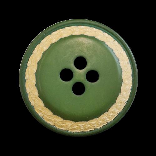 www.knopfparadies.de - 5094gn - Gedeckt grüne Kunststoffknöpfe mit vier Löchern - B-WARE!
