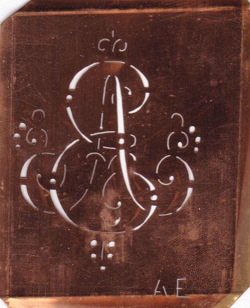 Aussteuerschablone, Wäsche-Schablone Schnörkel Kupfer Monogramm AE