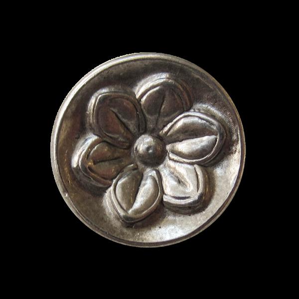 Großer altsilberfb. Blumen Metallknopf (j088as)