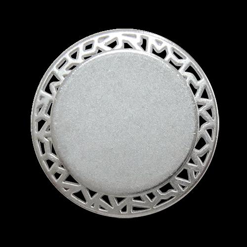 www.Knopfparadies.de - 0446si - Eindrucksvolle Ösenknöpfe aus Metall mit Durchbruch in matt Silber