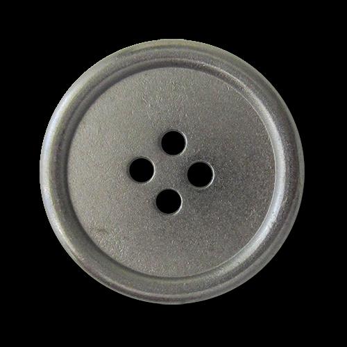 www.Knopfparadies.de - 3222ch - Chromfarbene Vierlochknöpfe aus Metall mit kleinen Mängeln