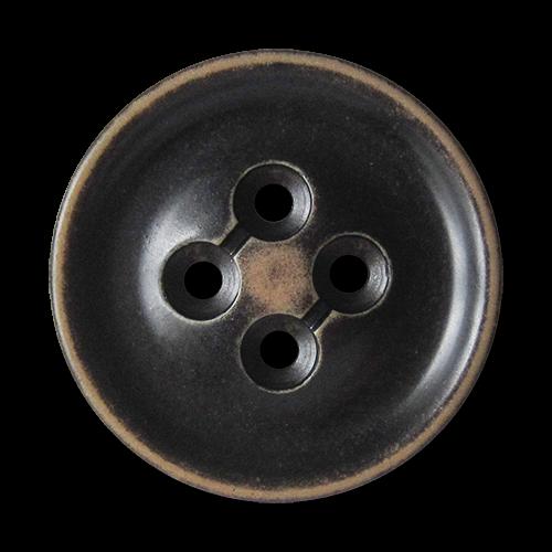 www.Knopfparadies.de - 1665db - Sehr große dunkelbraune Vierlochkunststoffknöpfe in Used Optik