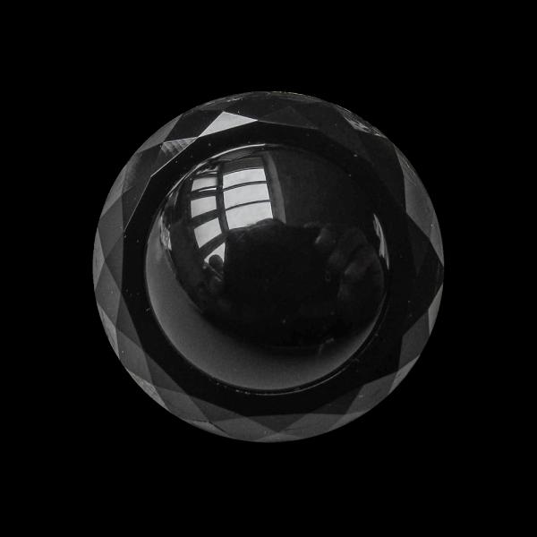 www.Knopfparadies.de - 4139sc - Elegante schwarze Kunststoffknöpfe in Glas-Optik